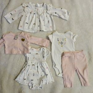 NB New Born Baby Girl Pink Outfit Bundle